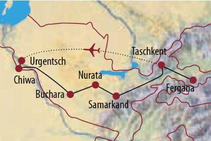 Usbekistan Karte.Abenteuerreise Erlebnisreise Usbekistan Abenteuerurlaub Usbekistan