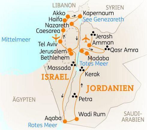 Jordanien Karte.Abenteuerreise Erlebnisreise Israel Abenteuerurlaub Israel