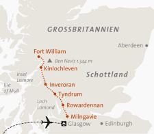 Karte Wanderreise Schottland West Highland Way