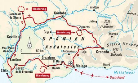 Karte Andalusien Portugal.Abenteuerreise Erlebnisreise Spanien Abenteuerurlaub Spanien