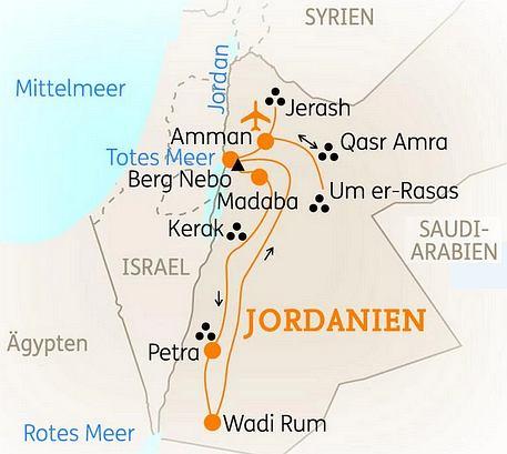 Jordanien Karte.Abenteuerreise Erlebnisreise Jordanien Abenteuerurlaub Jordanien