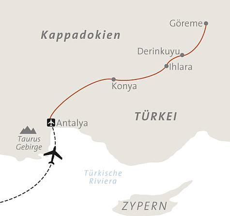 Karte Türkei Kappadokien.Abenteuerreise Erlebnisreise Türkei Abenteuerurlaub Türkei Reise
