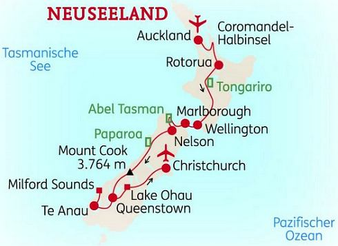 Abenteuerreise Erlebnisreise Neuseeland Abenteuerurlaub Naturwunder Neuseeland