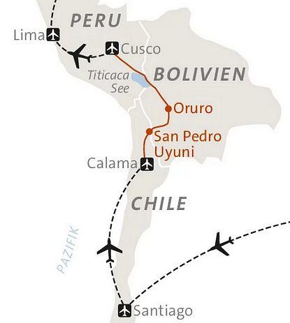 Atacama Wüste Karte.Abenteuerreise Erlebnisreise Chile Abenteuerurlaub Chile Bolivien